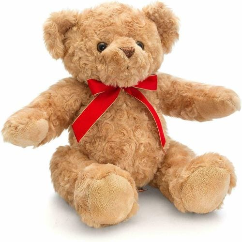 personalised teddy with red ribbon