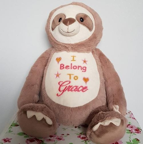 cubbie sloth embroidered