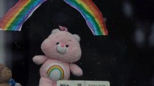 teddy in window