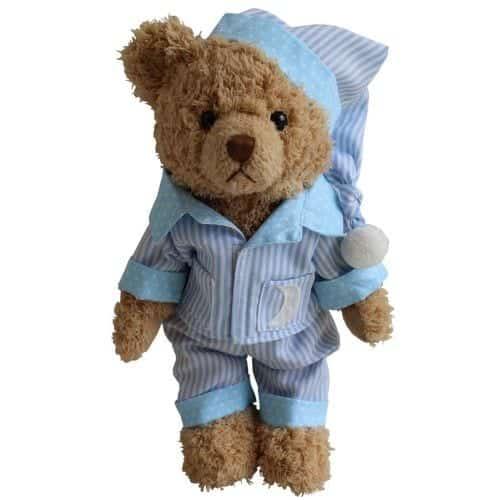 teddy in blue pyjamas