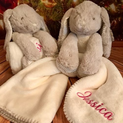 embroidered bunny blanket