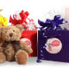 gift wrapped teddy bears