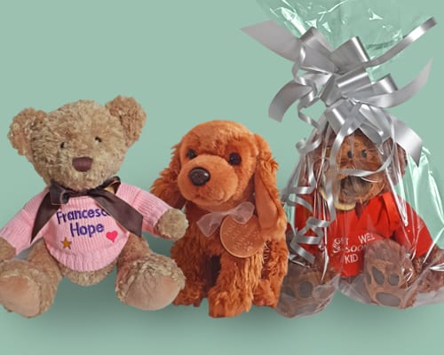 gift wrapped bears