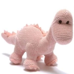 knitted pink dinosaur