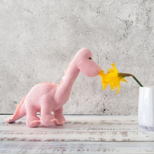 Pink Dinosaur Stuffed Animal Toy Image
