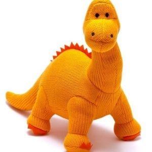 orange knitted dinosaur