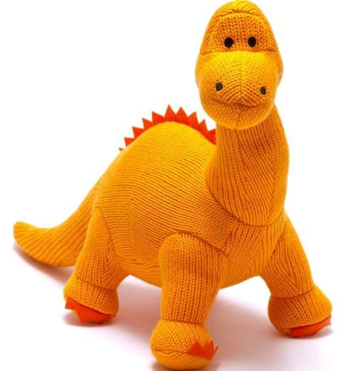 orange knitted dinosaur